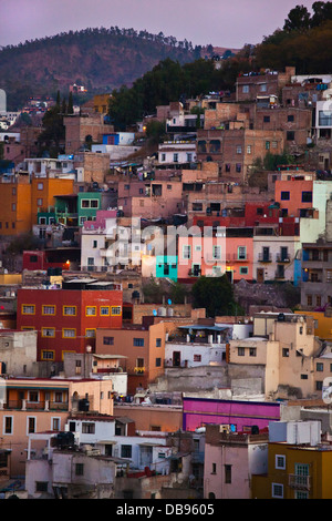 The colorful houses on the hillside of the cultural city of GUANAJUATO in central MEXICO - Stock Photo