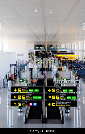 Elevated view inside the airside departures hall showing duty free shops, Terminal three, Malaga airport, Malaga, - Stock Photo
