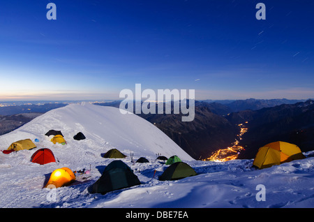 tents on Mt Blanc, French Alps, Haute-Savoie, France, Europe - Stock Photo