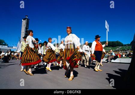 Tallinn Estonia Song Festival - Opening Ceremony - Dancers Traditional Costume - Stock Photo