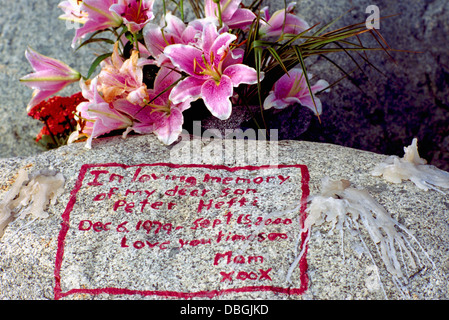 Memorial Flowers and In Loving Memory Message written in Red Writing on Rock, from Grieving Mother to her Dead Son, - Stock Photo