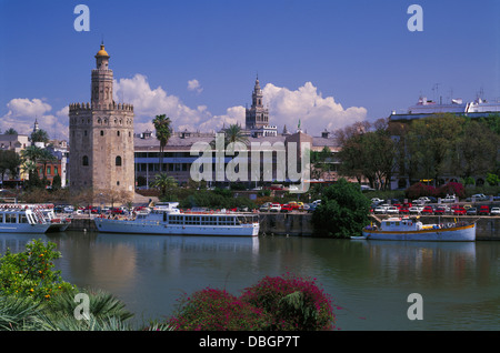 Torre del Oro and the River Guadalquiver, Seville, Andalucia, Spain - Stock Photo
