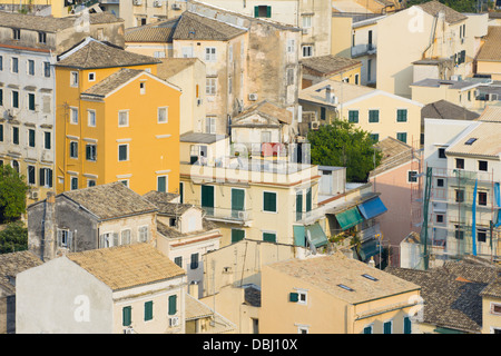 Corfu town roof tops in the Old Town - Stock Photo