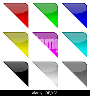 Colorful and glossy frame tag corners set on white background illustration - Stock Photo