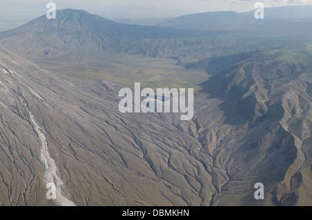 Aerial view of eroding volcanic ash in Rift Gregory (part of the East African Rift Valley) next to the volcano Oldoinyo - Stock Photo