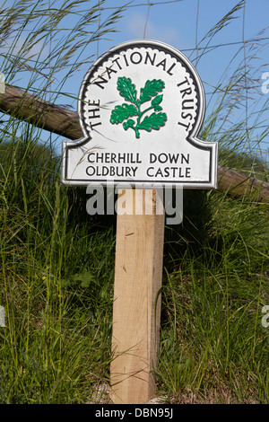 National Trust Sign at Cherhill Down Oldbury Castle - Stock Photo