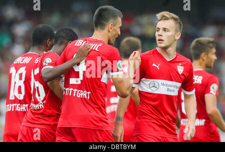 Stuttgart's Vedad Ibisevic (M) celebrates his 1-0 goal during the first round DFBCup match between BFC Dynamo Berlin - Stock Photo