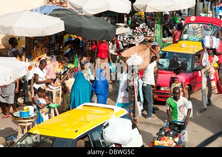 street scene, central market, Lome, Togo - Stock Photo