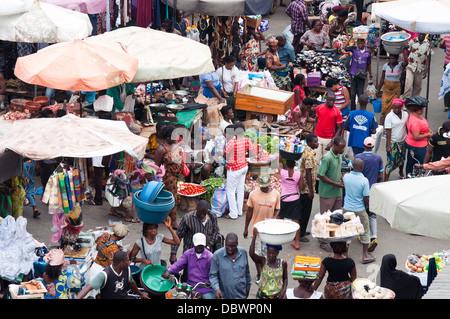 street scene and market stalls, Lome, Togo - Stock Photo