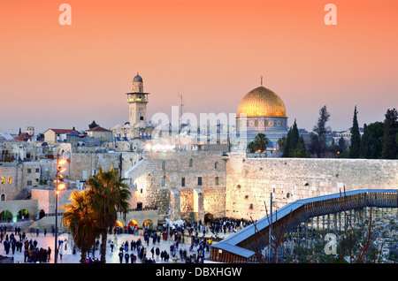 Skyline of the Old City at he Western Wall and Temple Mount in Jerusalem, Israel. - Stock Photo