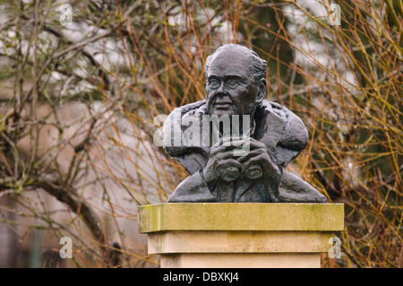 A bust of Sir Peter Scott, naturalist and founder of the wildfowl and wetland trust, wet from rain, at Slimbridge - Stock Photo