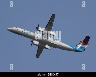 LX-LGE Luxair De Havilland Canada DHC-8-402Q Dash 8 take-off 13july2013 - Stock Photo