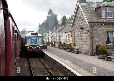 A restored Diesel Multiple Unit on the Strathspey Steam Line at Boat of Garten Station, Scotland. - Stock Photo