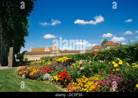 BOURG EN BRESSE FRANCE ROYAL MONASTERY OF BROU WITH TILED ROOF AND GARDENS - Stock Photo