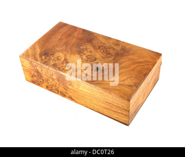 wooden box (Myanmar style) on white background - Stock Photo