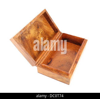 open wooden box (Myanmar style) on white background (with clipping path) - Stock Photo