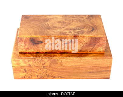 two wooden box (Myanmar style) on white background - Stock Photo