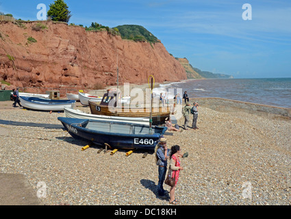 View to east of Sidmouth with fishing boats, UK - Stock Photo