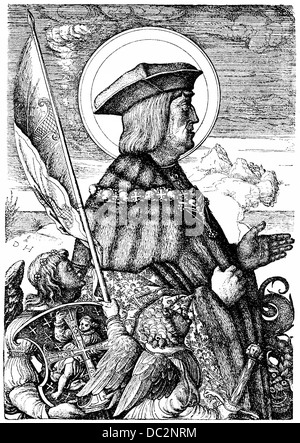 portrait of Maximilian I of  Habsburg, 1459-1519, German king and emperor of the Holy Roman Empire - Stock Photo