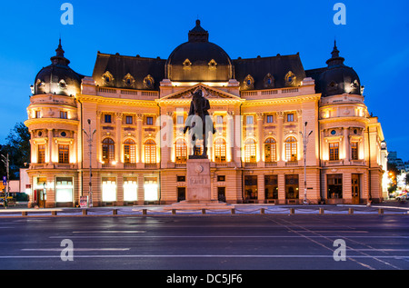 The Central University Library is located in central Bucharest with statue of Carol I, first king of Romania in - Stock Photo