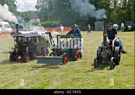 Miniature steam traction engines at a Steam Fair - Stock Photo
