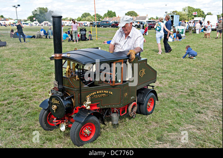 Miniature 5/12 scale Foden steam road engine at a Steam Fair - Stock Photo