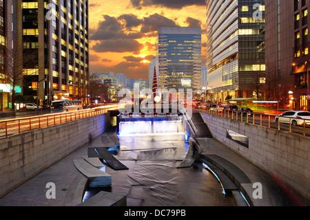 Cityscape of Seoul, South Korea at Cheonggyecheon Stream. - Stock Photo