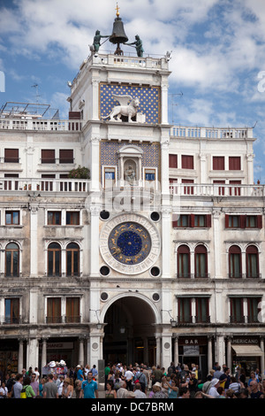 The Clock Tower on St Mark's Square, at Venice (Italy). La Tour de l'horloge sur la Place Saint Marc, à Venise (Italie). - Stock Photo