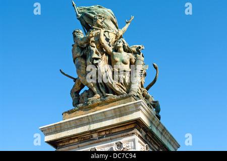 Bronze statue front of Capitolio, Rome, Italy - Stock Photo