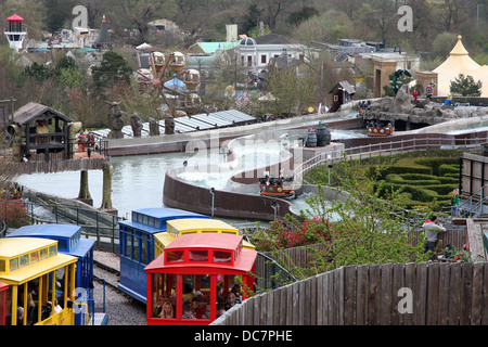 The train and a water ride at Legoland Windsor UK. - Stock Photo