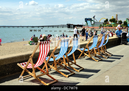 Busy seafront in summertime at Southend on Sea Essex UK - Stock Photo