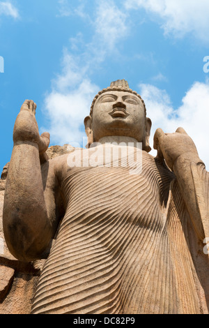 Avukana standing Buddha statue, Sri Lanka. 40 feet (12 m) high, has been carved out of a large granite rock in the - Stock Photo