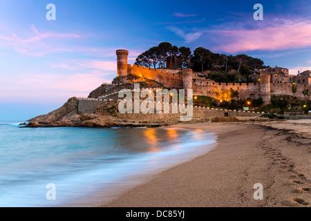 View at dusk of Vila Vella, the medieval old town of Tossa del Mar, Costa Brava, Catalonia, Spain - Stock Photo