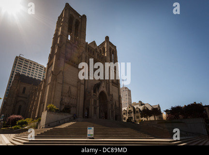Corner view of the ornate front facade and towers of Grace Cathedral Church in San Francisco, California - Stock Photo