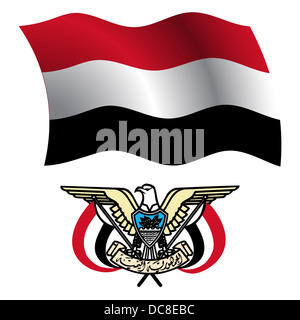 yemen wavy flag and coat of arm against white background, vector art illustration, image contains transparency - Stock Photo