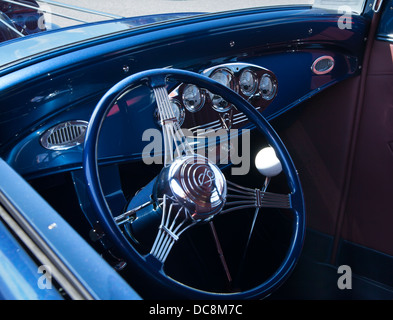 blue hotrod interior - Stock Photo