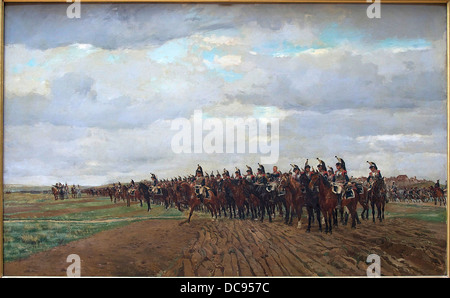 THE CUIRASSIERS OF 1805 BEFORE THE FIGHT Jean-Louis-Ernest Meissonier - Stock Photo
