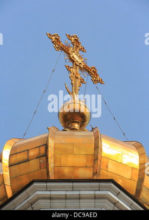 Cathedral of Christ the Saviour, Khram Khrista Spasitelya, main dome with golden cross - Stock Photo