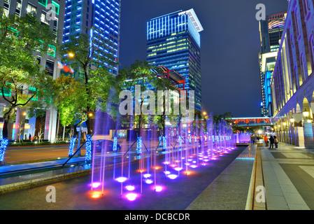 Nighttime fountains in Taipei, Taiwan. - Stock Photo