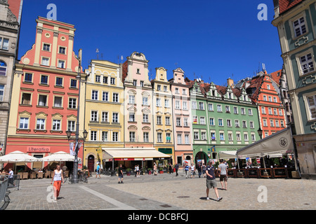 Houses at Rynek (market square), Wroclaw (Breslau), Lower Silesia, Poland, Europe - Stock Photo