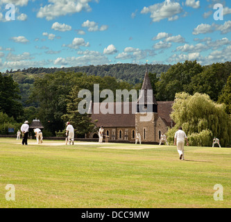 Village cricket at Grayswood, Surrey. - Stock Photo