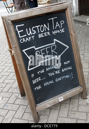 Craft beer Tap sign at Euston Station London - Stock Photo