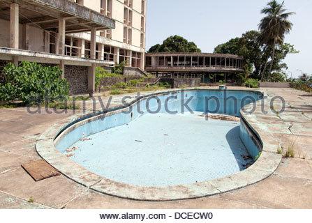 Ruins of a hotel, Ducor Hotel, Monrovia, Liberia - Stock Photo