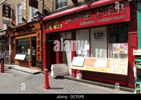 Facade of the Super Star Chinese restaurant in Chinatown, London, England. - Stock Photo
