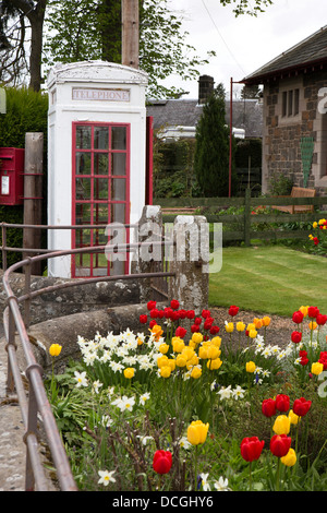 Scotland, Perth and Kinross, Rhynd, Rare K3 listed phone box in garden of Old Post Office, only one in UK - Stock Photo