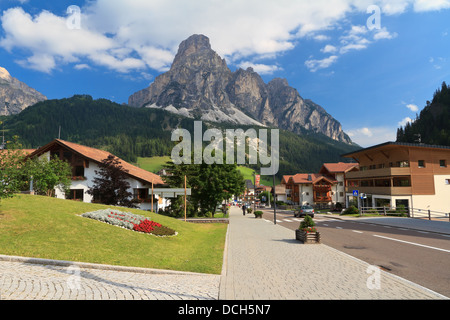 street in Corvara, famous village in Val Badia, Italian Dolomites - Stock Photo