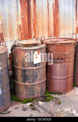 barrel with radioactive waste disposal - Stock Photo