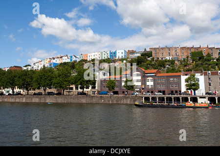 View of The Cumberland Basin, Hotwells & Clifton from the deck of the SS Great Britain Museum Ship. Bristol, England, - Stock Photo