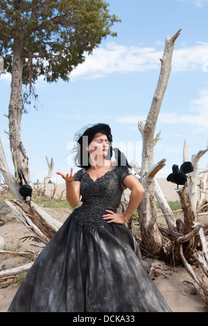 A beautiful black haired woman in a black wedding gown with crows - Stock Photo