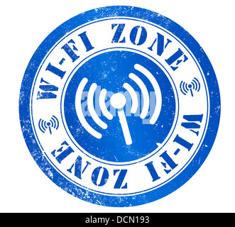 Zona WiFi grunge stamp, in english language - Stock Photo